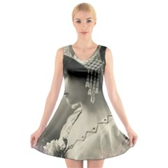 Vintage 1501540 1920 V Neck Sleeveless Skater Dress
