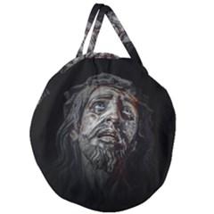 Jesuschrist Face Dark Poster Giant Round Zipper Tote