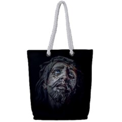 Jesuschrist Face Dark Poster Full Print Rope Handle Tote (small)