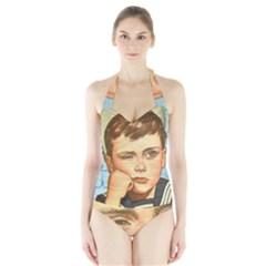 Retro Boy Halter Swimsuit