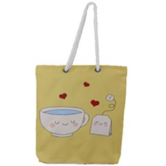 Cute Tea Full Print Rope Handle Tote (large)