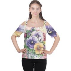 Lowers Pansy Cutout Shoulder Tee