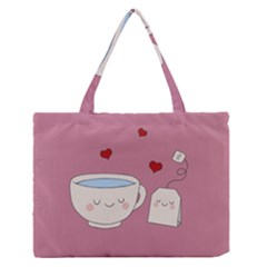 Cute Tea Zipper Medium Tote Bag