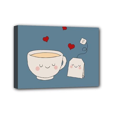 Cute Tea Mini Canvas 7  X 5