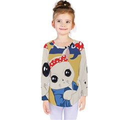 Feminist Cat Kids  Long Sleeve Tee