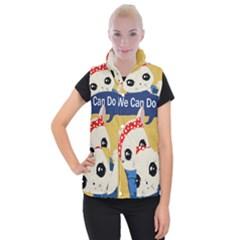 Feminist Cat Women s Button Up Puffer Vest