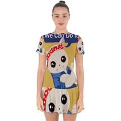 Feminist Cat Drop Hem Mini Chiffon Dress