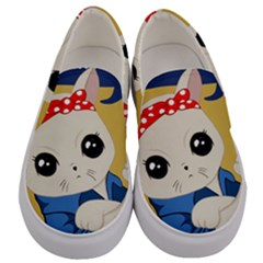 Feminist Cat Men s Canvas Slip Ons
