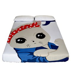 Feminist Cat Fitted Sheet (california King Size)