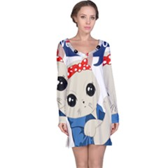 Feminist Cat Long Sleeve Nightdress