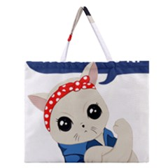 Feminist Cat Zipper Large Tote Bag
