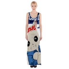 Feminist Cat Maxi Thigh Split Dress