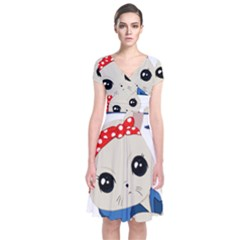 Feminist Cat Short Sleeve Front Wrap Dress