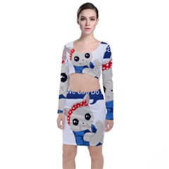 Feminist Cat Long Sleeve Crop Top & Bodycon Skirt Set