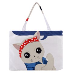 Feminist Cat Zipper Medium Tote Bag