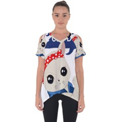 Feminist Cat Cut Out Side Drop Tee