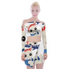Feminist Cat Off Shoulder Top With Mini Skirt Set