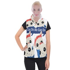 Feminist Cat Women s Button Up Puffer Vest