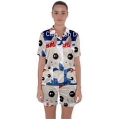 Feminist Cat Satin Short Sleeve Pyjamas Set