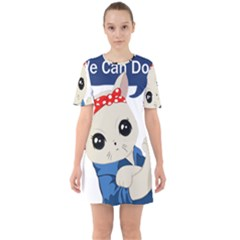 Feminist Cat Sixties Short Sleeve Mini Dress