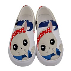 Feminist Cat Women s Canvas Slip Ons