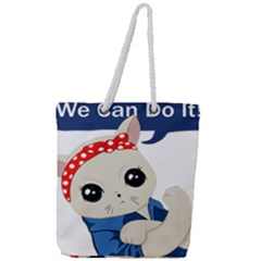 Feminist Cat Full Print Rope Handle Tote (large)