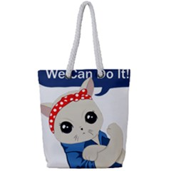 Feminist Cat Full Print Rope Handle Tote (small)