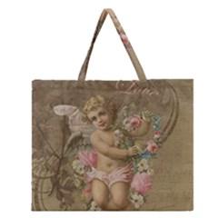 Cupid   Vintage Zipper Large Tote Bag