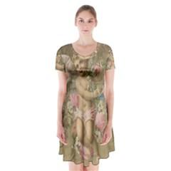 Cupid   Vintage Short Sleeve V Neck Flare Dress