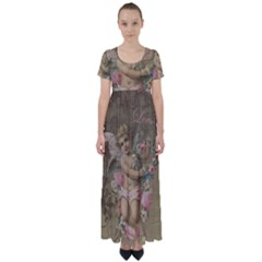 Cupid   Vintage High Waist Short Sleeve Maxi Dress