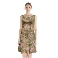 Cupid   Vintage Sleeveless Waist Tie Chiffon Dress