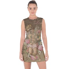 Cupid   Vintage Lace Up Front Bodycon Dress