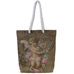 Cupid   Vintage Full Print Rope Handle Tote (small)