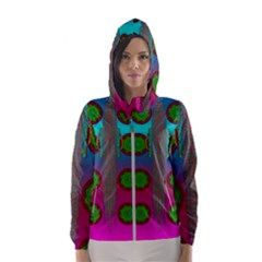 Meditative Abstract Temple Of Love And Meditation Hooded Wind Breaker (women)