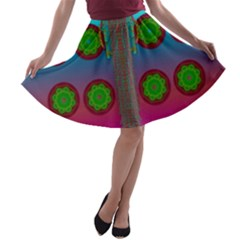 Meditative Abstract Temple Of Love And Meditation A Line Skater Skirt
