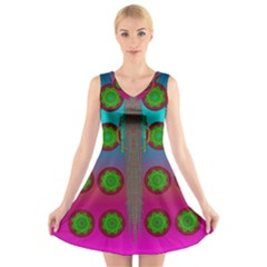 Meditative Abstract Temple Of Love And Meditation V Neck Sleeveless Skater Dress
