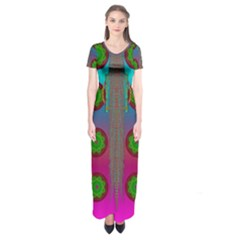 Meditative Abstract Temple Of Love And Meditation Short Sleeve Maxi Dress