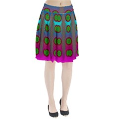 Meditative Abstract Temple Of Love And Meditation Pleated Skirt