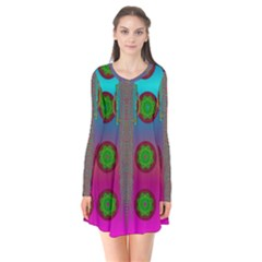 Meditative Abstract Temple Of Love And Meditation Flare Dress