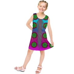 Meditative Abstract Temple Of Love And Meditation Kids  Tunic Dress