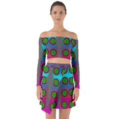 Meditative Abstract Temple Of Love And Meditation Off Shoulder Top With Skirt Set