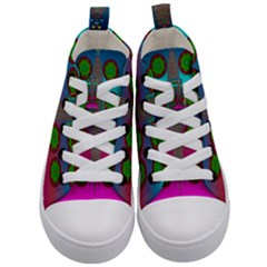Meditative Abstract Temple Of Love And Meditation Kid s Mid Top Canvas Sneakers