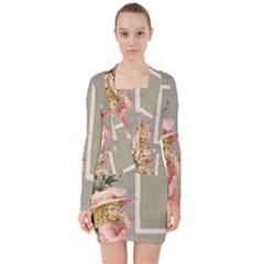 Background 1229025 1920 V Neck Bodycon Long Sleeve Dress