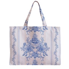 Beautiful,pale Blue,floral,shabby Chic,pattern Mini Tote Bag