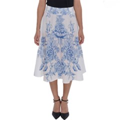 Beautiful,pale Blue,floral,shabby Chic,pattern Perfect Length Midi Skirt