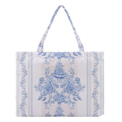 Beautiful,pale Blue,floral,shabby Chic,pattern Medium Tote Bag