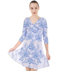 Beautiful,pale Blue,floral,shabby Chic,pattern Quarter Sleeve Front Wrap Dress