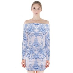 Beautiful,pale Blue,floral,shabby Chic,pattern Long Sleeve Off Shoulder Dress
