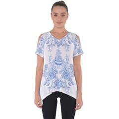 Beautiful,pale Blue,floral,shabby Chic,pattern Cut Out Side Drop Tee