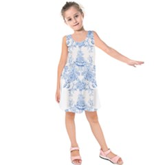 Beautiful,pale Blue,floral,shabby Chic,pattern Kids  Sleeveless Dress
